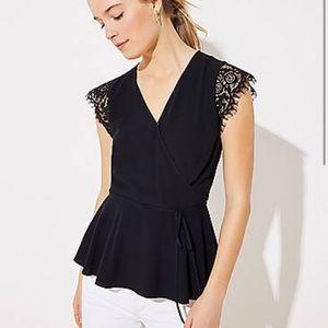 LOFT black lace sleeve wrap top size XL EUC